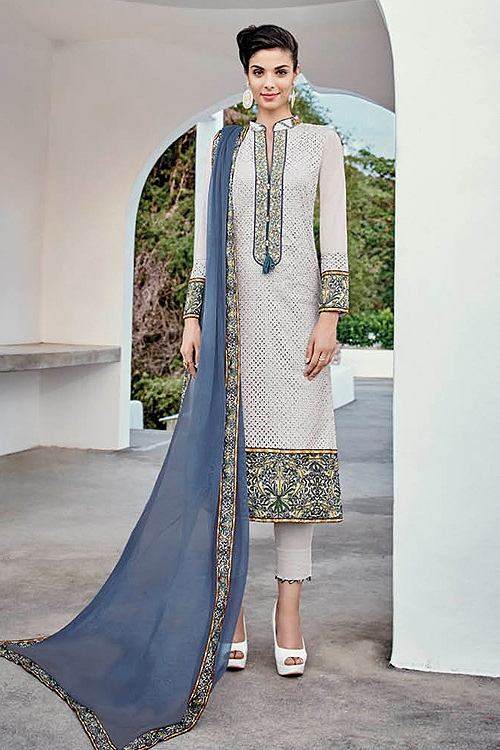 Light Grey Chikankari Work Cotton Straight Style Salwar Suit