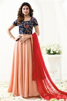Floral Embroidered Navy Blue Peach Anarkali With Red Dupatta