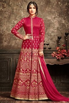 Ruby Red Reflective Embroidered Silk Floor Length Anarkali Suit