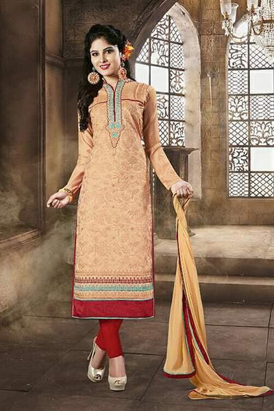 Light Orange Color Embroidered Chanderi Cotton Churidar Salwar Suit
