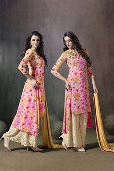 Mugdha Pink and Beige High Low Floral Palazzo Suit