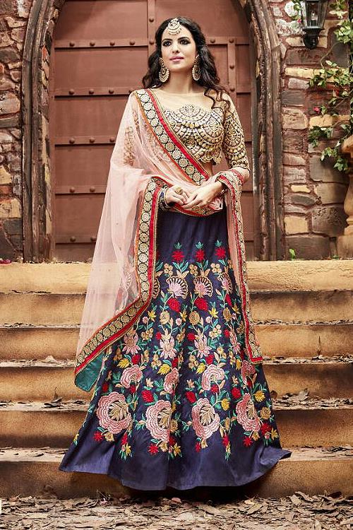 Gorgeous Blue and baby Pink designer lehenga