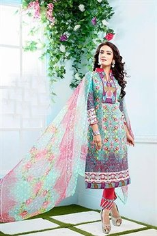Beautiful Casual Wear Printed Straight Cut salwar kameez Sea Green Color