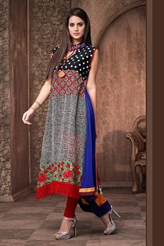 Alluring And Stunning Designer Georgette Kurti With Embroidery