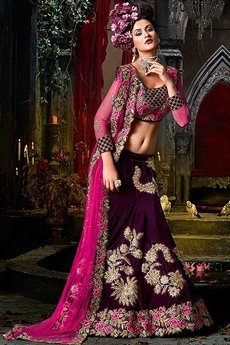 Wine Purple & Raspberry Pink Colour Lehenga With Matt Gold Embroidery