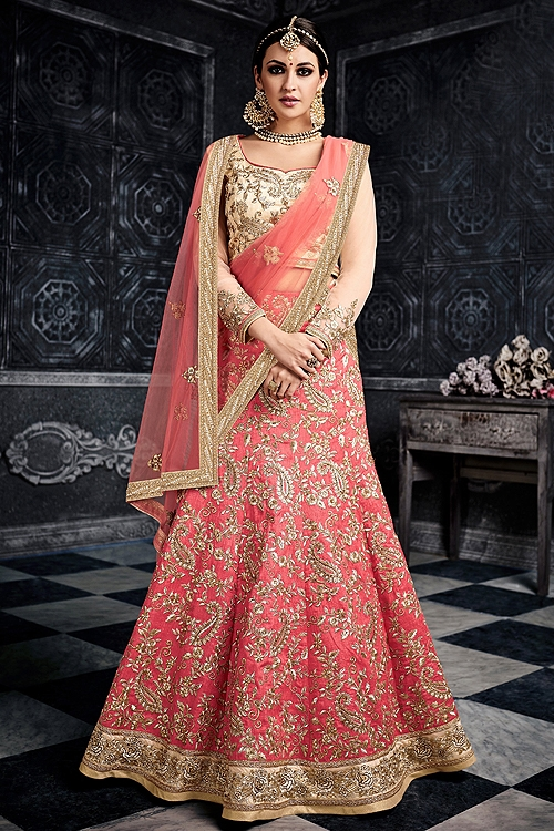 Pink Beige Embroidered Silk Lehenga Choli