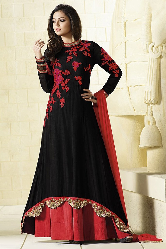 Red and Black Glam Anarkali Suit