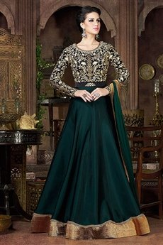 Bottle Green Violet Heavy Embroidery  Anarkali Suits