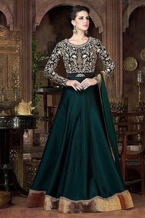Bottle Green Violet Heavy Embroidery Anarkali Suits
