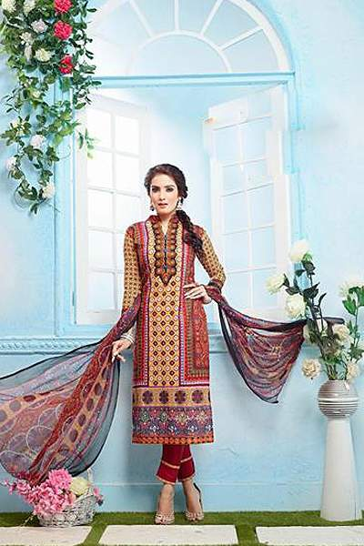 Beautiful Casual Wear Printed Straight Cut Orange Color Suit