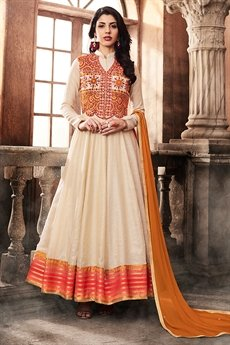 Off White Art Silk Collared Floor-Length Anarkali Suit With Thread Embroidered Jacket