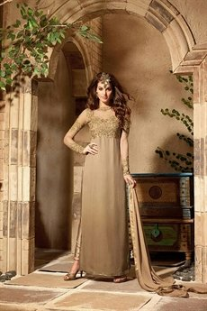 Rust Gold Pure Georgette Embroidery Designer Anarkali Suits
