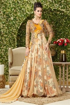 Luxurious Yellow and cream Anarkali lehenga suit.