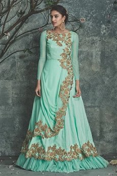 Sea green party wear embellished indo western dress