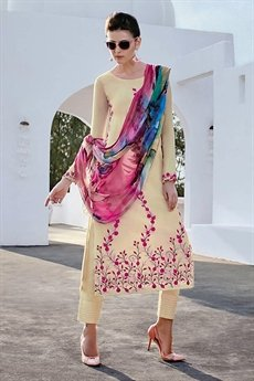 Bahni Elena Designer Cotton Jacquard Salwar Suits Cream