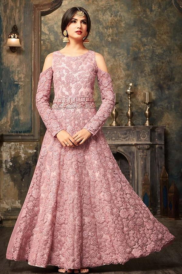 Dusky Pink Embroidered Net Floor Length Cold Shoulder Anarkali Gown