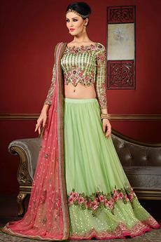 Royal Mint green and pink designer lehenga