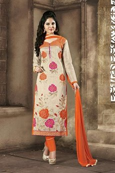 Chanderi Cotton Churidar Salwar Suits in Cream & Orange