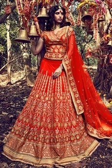Royal Vibrant Orange silk lehenga