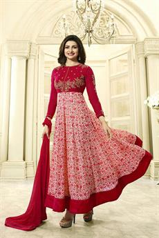 Luxe Pink floral Anarkali suit