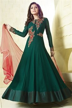 Beautiful Bottle Green and Pink Anarkali Suit