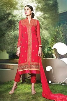 Cherry Red Pure Georgette Indian Salwar Kameez Suit With Embroidery