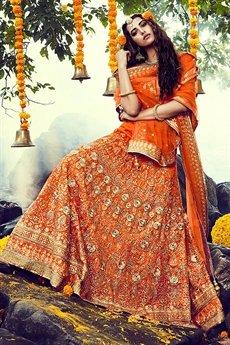 Glam Tiger Orange Bhagalpuri Silk lehenga