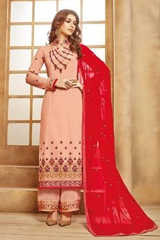 Elegant Dusty Pink Palazzo Suit in Georgette