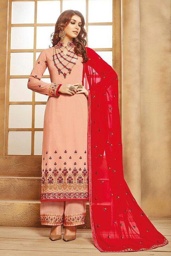Elegant Dusty Pink Palazzo Suit in Georgette