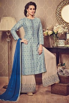 Azure Blue Beige Front Slit Kurti With Palazzo