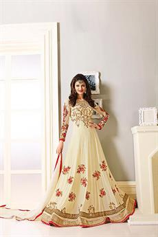 Royal Cream Red and Gold Embroidered Georgette Designer Anarkali Suit
