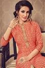 Designer Salwar Kameez Suit In Heart Print Art Silk Fabric