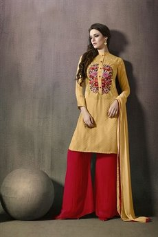 Mugdha Yellow  and Ruby Red Thread Embroidered Palazzo Set