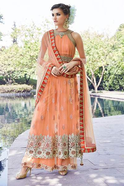 Peach Colour Embroidered Pure Net Anarkali Suit