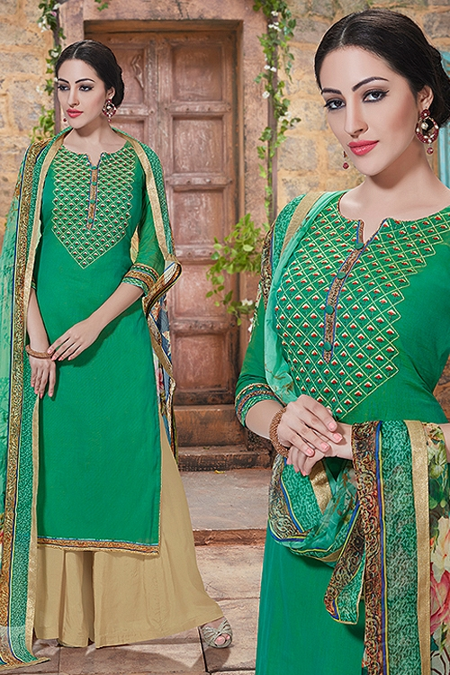 Charming And Beautiful Plazzo Straight Cut Suit With Printed Dupatta In Spring Green