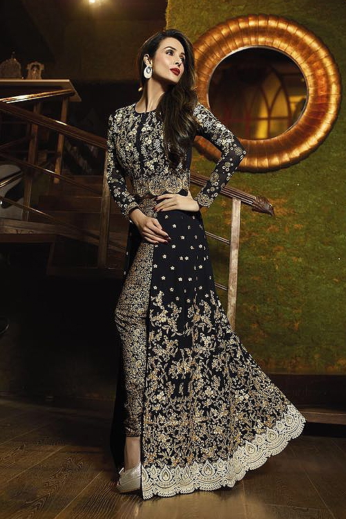 Black Glossy Malaika Arora Khan Heavy Embroidery Anarkali Suits