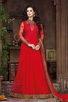 Swagat French Rose Heavy Embroidery Anarkali Suits