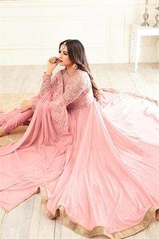 Gorgeous Light Pink Georgette Asymmetrical Anarkali Suit