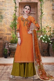 Charming And Beautiful Palazzo Straight Cut Suit With Printed Dupatta In Orangish Brown