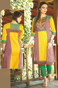 Beautiful Printed Kurti With Embroidery In Yellow