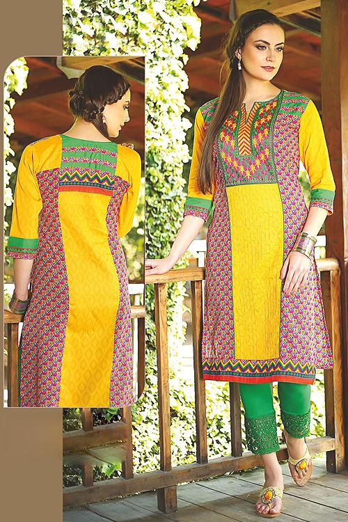 Beautiful Printed Kurti With Embroidery In Yellow