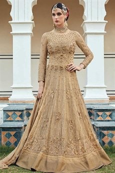 Stunning Beige Anarkali Suit with Beautiful Zari embroidery