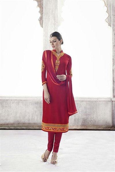 Crimson Red Thread Embroidered Georgette Straight Cut Churidar Salwar Suit