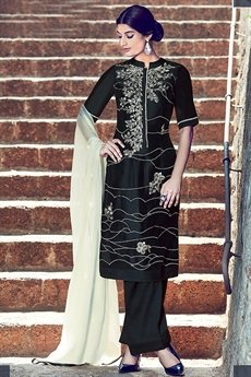 Kimora Embroidered Palazzo Suit Black Color