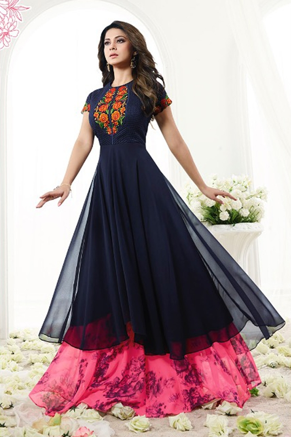Navy Blue Neon Pink Floral Thread Embroidered Layered Anarkali Suit