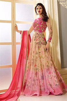 Glam Pink and Beige Designer Anarkali Suit