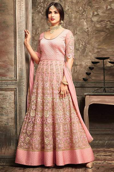 Designer Anarkali Suit With Beautiful Peach Floral Embroidery