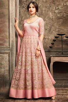 Peach Floral Embroidered Net Floor Length Anarkali Suit