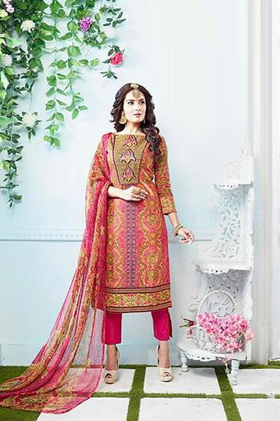 Beautiful Casual Wear Printed Straight Cut Orange Suit