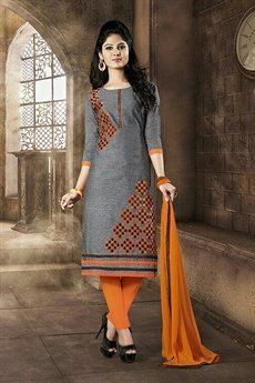 Sanskruti Elegant Chanderi Cotton Churidar Suits With Embroidery Grey & Orange